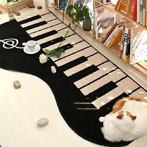 Newrara Piano Modern Shag Area Rugs Piano Mat Living Room Carpet Bedroom Rug for Children Play Solid Home Decorator Floor Rug and Carpets (Black)