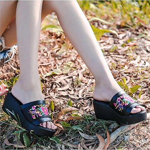 Sandalias Aumento Moda Exteriores Mujer Zapatillas de étnico Zapatillas y Pendiente de Negro Verano Estilo Vestir Bordado Prendas wSXBFPq
