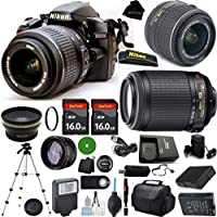 D3200 24.2 MP CMOS Digital SLR, NIKKOR 18-55mm f/3.5-5.6 Auto Focus-S DX VR, 55-200mm f4-5.6G Auto Focus-S VR, 2pcs 16GB BaseDeals Memory, Case, Wide Angle, Telephoto, Battery, Charger