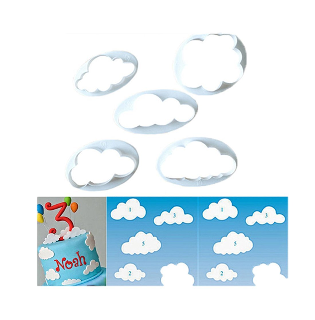 Edtoy 5PCS Clouds shape Cookie Biscuit Cutter Mold Set, DIY Cake Fondant Decorating Mold