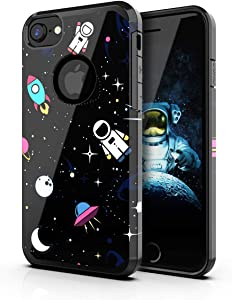 PBRO iPhone 6/6s Case,iPhone 7/8 Case,iPhone SE 2020 Case Cute Astronaut Case Dual Layer Soft Silicone & Hard Back Cover Heavy Duty PC+TPU Protective Case for Apple iPhone 6/6S/7/8/SE2 Space/Black