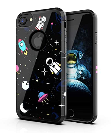 PBRO iPhone 6/6s Case,iPhone 7/8 Case,Cute Astronaut Case Dual Layer Soft Silicone & Hard Back Cover Heavy Duty PC+TPU Protective Anti-Scratch ...