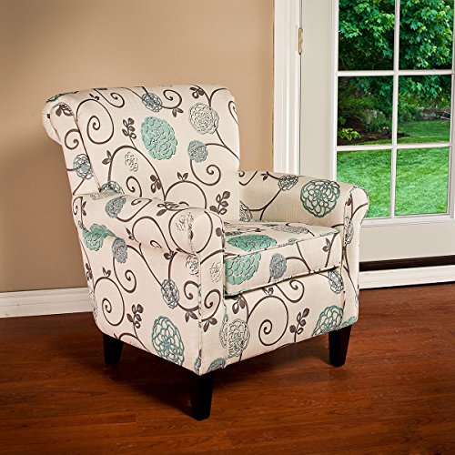 Roseville Blue Floral Club Chair (Blue Accent Chairs For Living Room)