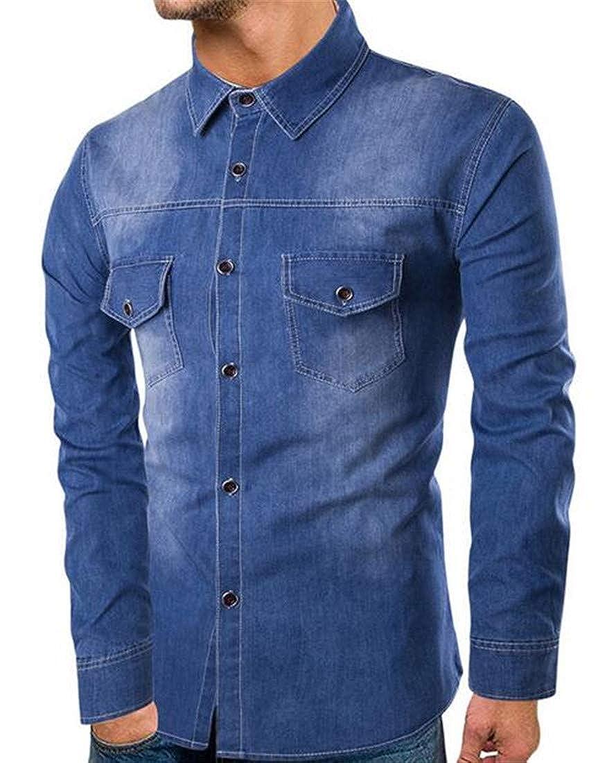 UUYUK Men Cotton Washed Casual Long Sleeve Cowboy Western Button Down Shirt