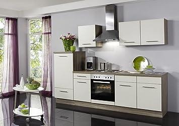 Küchenzeile Wiebke inkl. Elektrogeräte und Ceranfeld, 270 cm: Amazon ...