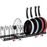 X-cosrack 11 Dividers Pot Pan Lid Rack Bakeware Cupboard Organizer, Expandable, Patent Pending. Black