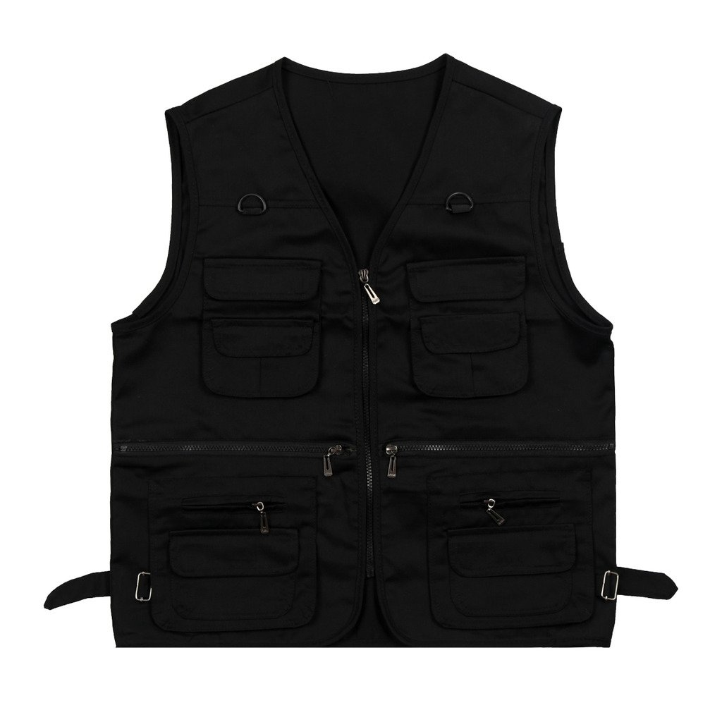 Stunner Men's Summer Multi-Pocket Outdoor Leisure Vest US M Black