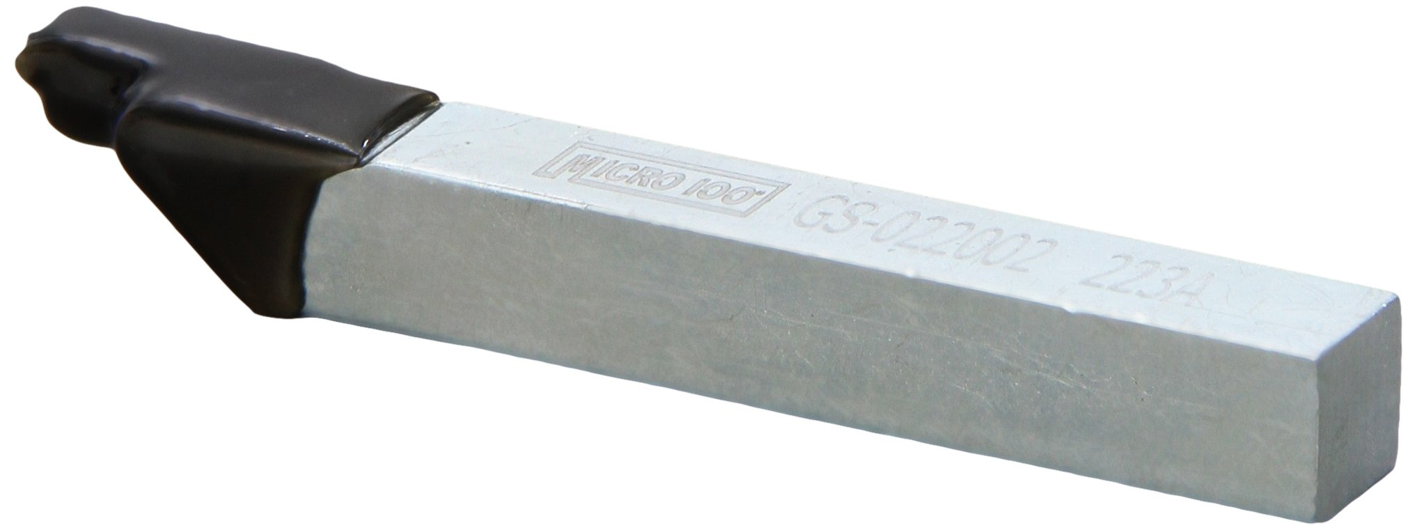 Micro 100 GS-022002 Brazed Groove Tool Square Shank Diameter ''Style GS'', 3'' Length, 3/8'' Width, 3/8'' Height, 0.022''/0.024'' Width, 0.090'' Length, 0.003'' maximum Radius