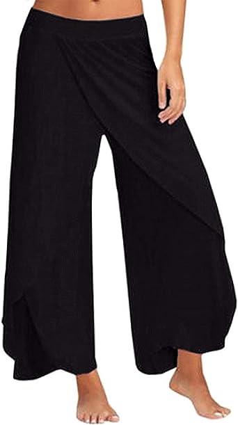 Amazon Com Women High Split Cropped Yoga Pants High Waist Wide Leg Yoga Flowy Layered Palazzo Pants Clothing