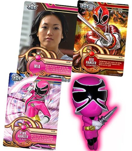 Power Rangers SUPER Samurai 1 Inch PVC Mini Figure & Trading Card Pink - Pvc Figure Pink