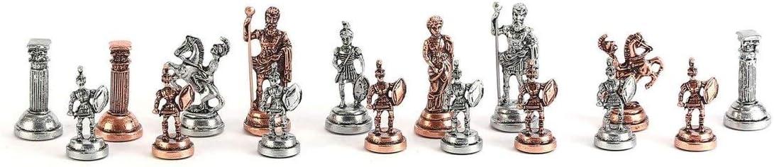 Noce Patterned Legno Scacchiera Piccola Dimensione Re 4,8 Centimetri Giochi Casuali Pezzi Fatti a Mano WYHM Scacchi Storico Rame Antico Roma Figure in Metallo Chess Set