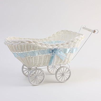 Grande Mimbre Cesta Carrito Cesta Regalo bebé Ducha Azul ...