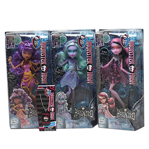 Monster High Haunted 3 Doll Bundle Pack Draculaura, Twyla, Clawdeen Wolf and Freaky Fabulous Dog Tag Necklace Total 4 (Create A Monster High Character)
