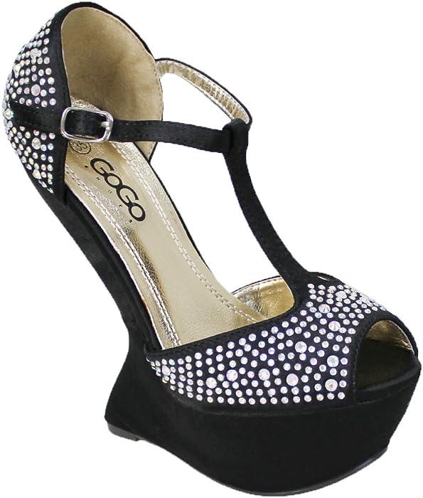 Sandali scarpe donna nero eleganti decoltè plateau con brillanti strass  cerimonia b869f7ac4e6