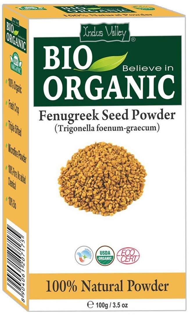 Zertifiziertes reines Bio-Bockshornkleesamen-Pulver (Methi) mit kostenlosem Rezeptbuch 100g (Fenugreek Seed Powder) Indus Cosmeceuticals