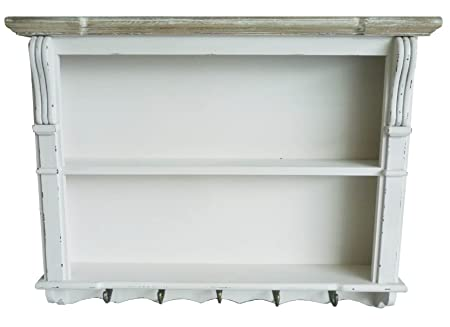 Charles Bentley White Shabby Chic Kitchen Dining Room Wall Shelving Display Unit Dresser Top Shelf Plate  sc 1 st  Amazon UK & Charles Bentley White Shabby Chic Kitchen Dining Room Wall Shelving ...