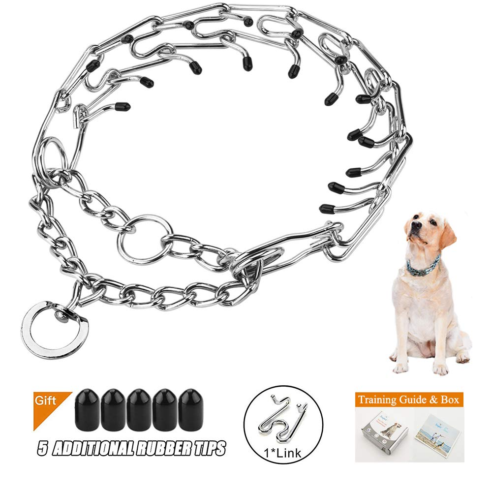 Supet Dog Prong Training Collar, Steel Chrome Plated Dog Pinch Collar, Correction Collar with Comfort Rubber Tips(Packed with One Extra Links)