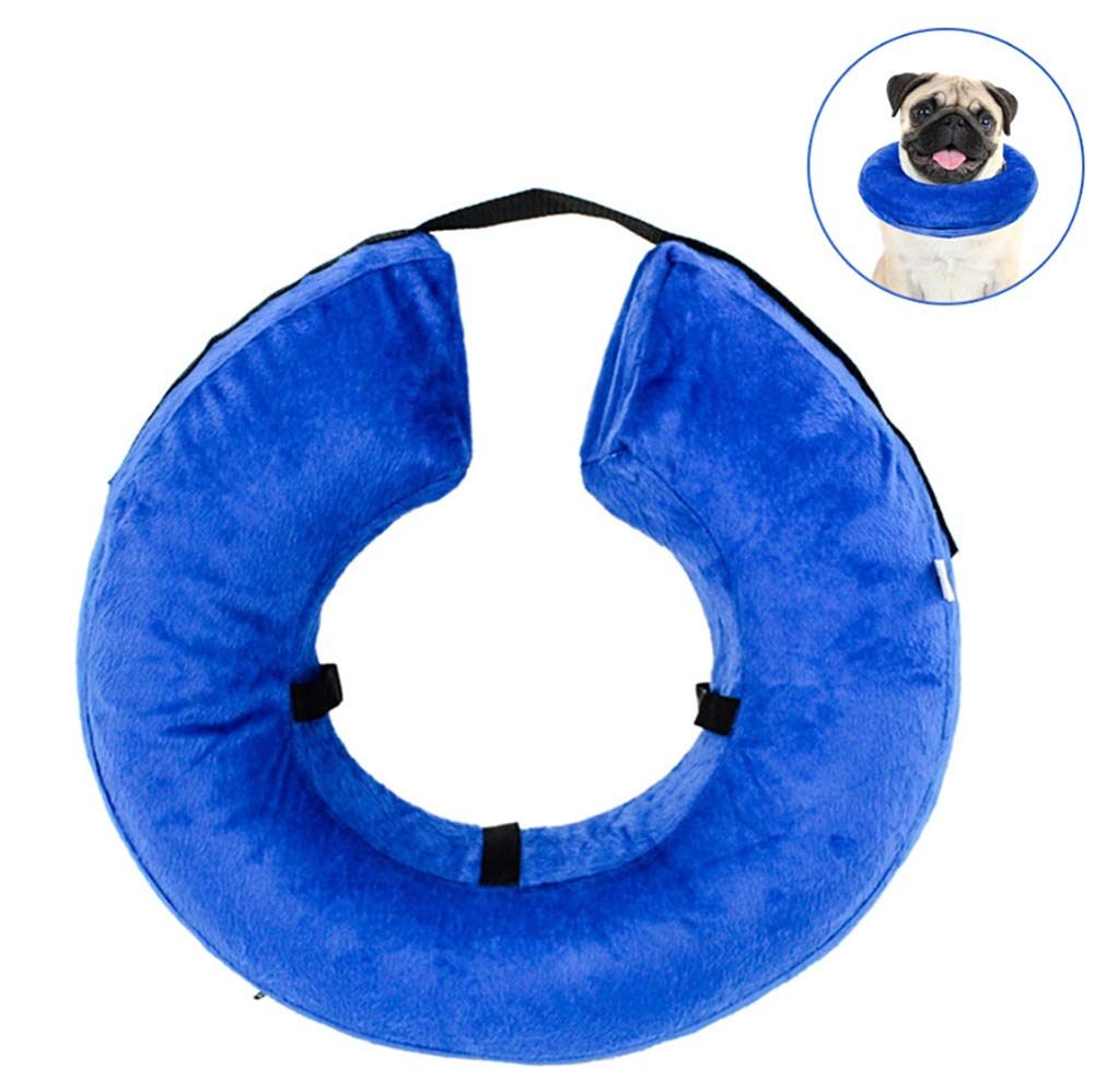 ZPEM Protective Inflatable Collar Dogs Adjustable Removable Wahsable Dog Cat Recovery Surgery Wound Healing Medical Beauty Neck Cover,L
