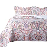 Bedding Sets King Sale Bedsure 3-Piece Bedding Quilt Set Coverlet King Size 106x96 with Two Pillow Shams, Marrakesh Paisley Pattern, Lightweight Design for Spring and Summer