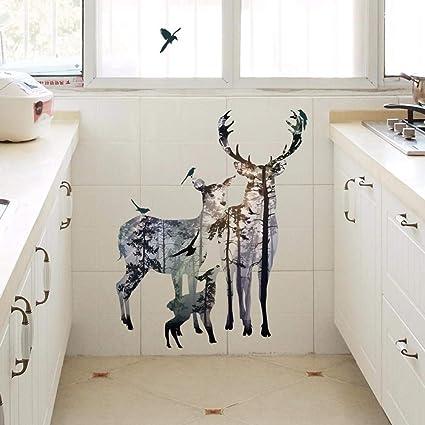 YWLINK Elk Sala De Estar Dormitorio Impermeable ProteccióN del Medio Ambiente Etiqueta De La Pared Cristal De La Ventana ElectrodoméSticos De Cocina Apliques: Amazon.es: Hogar