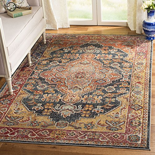 Safavieh Harmony Collection HMY403C Navy and Gold Area Rug (7' Square)