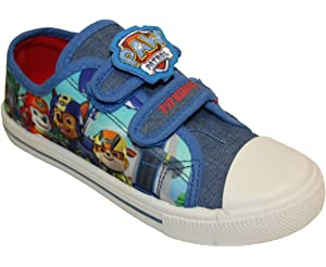 8694525d453b9 Childrens Boys Girls Paw Patrol Flat Canvas Pumps with Hook and Loop Straps Kids  Size EU