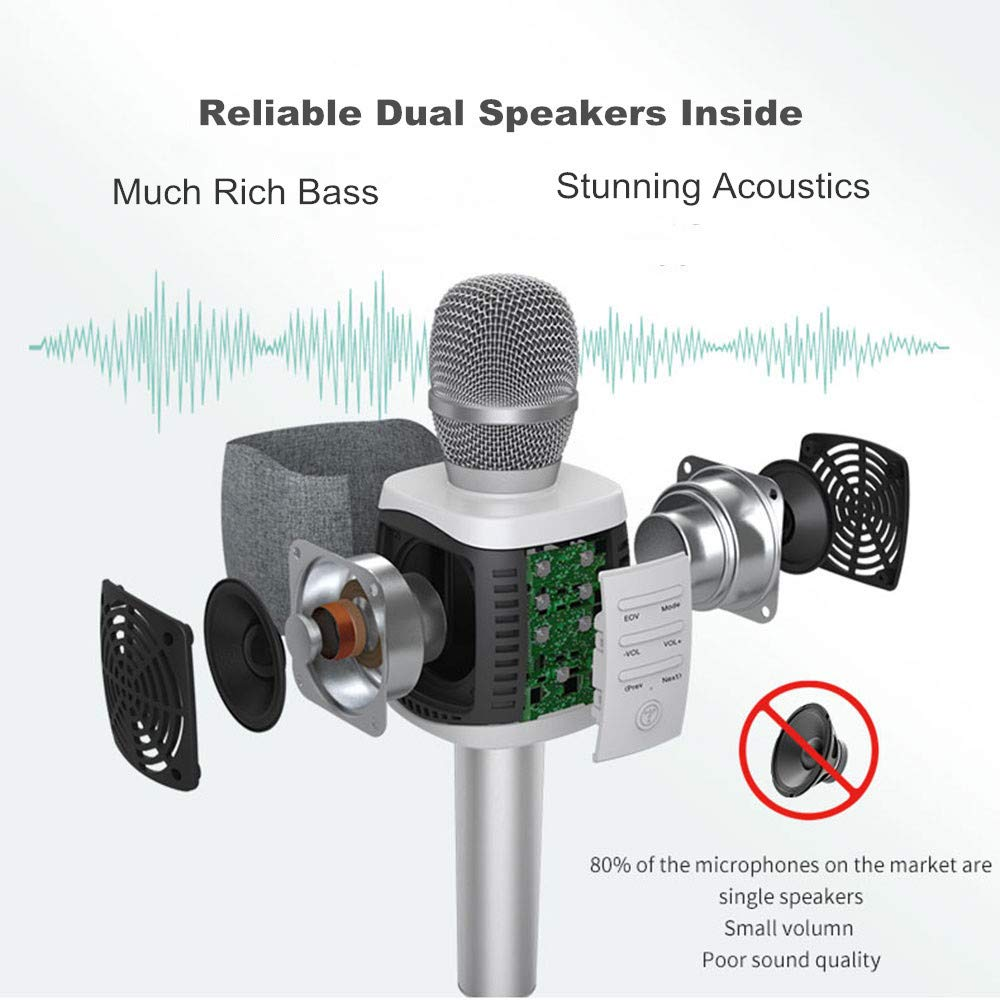 TOSING Wireless Karaoke Microphone for Kids Teenagers Family Adults,4 in 1 Portable Handheld Home Party Bluetooth Karaoke Speaker Machine,Top Birthday Gifts for Girls 2019,Best Present Toys for Kids by TOSING (Image #2)