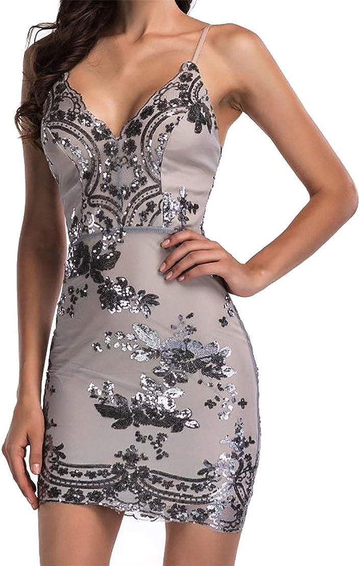 Conffetti Womens Spagetti Strap Low Cut Bodycon Backless Shine Night Club Dress