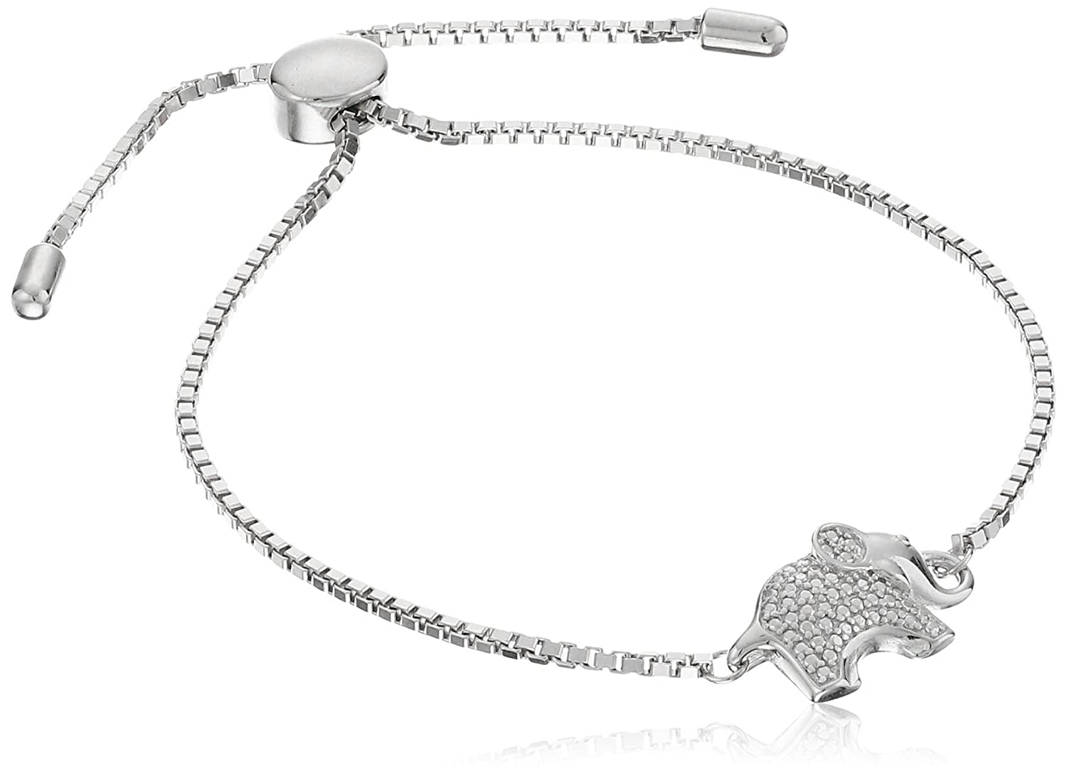 Rhodium Plated Sterling Silver Elephant Bolo Adjustable Bracelet Amazon Collection R1A6FGA0F8