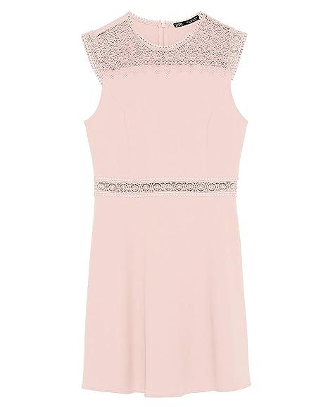 5727e6ebc78 Zara Women's Contrast lace Dress 1165/057 Beige: Amazon.co.uk: Clothing