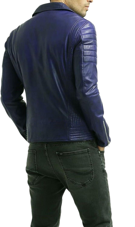 New Men Motorcycle Lambskin Leather Jacket Coat Size XS S M L XL T1524