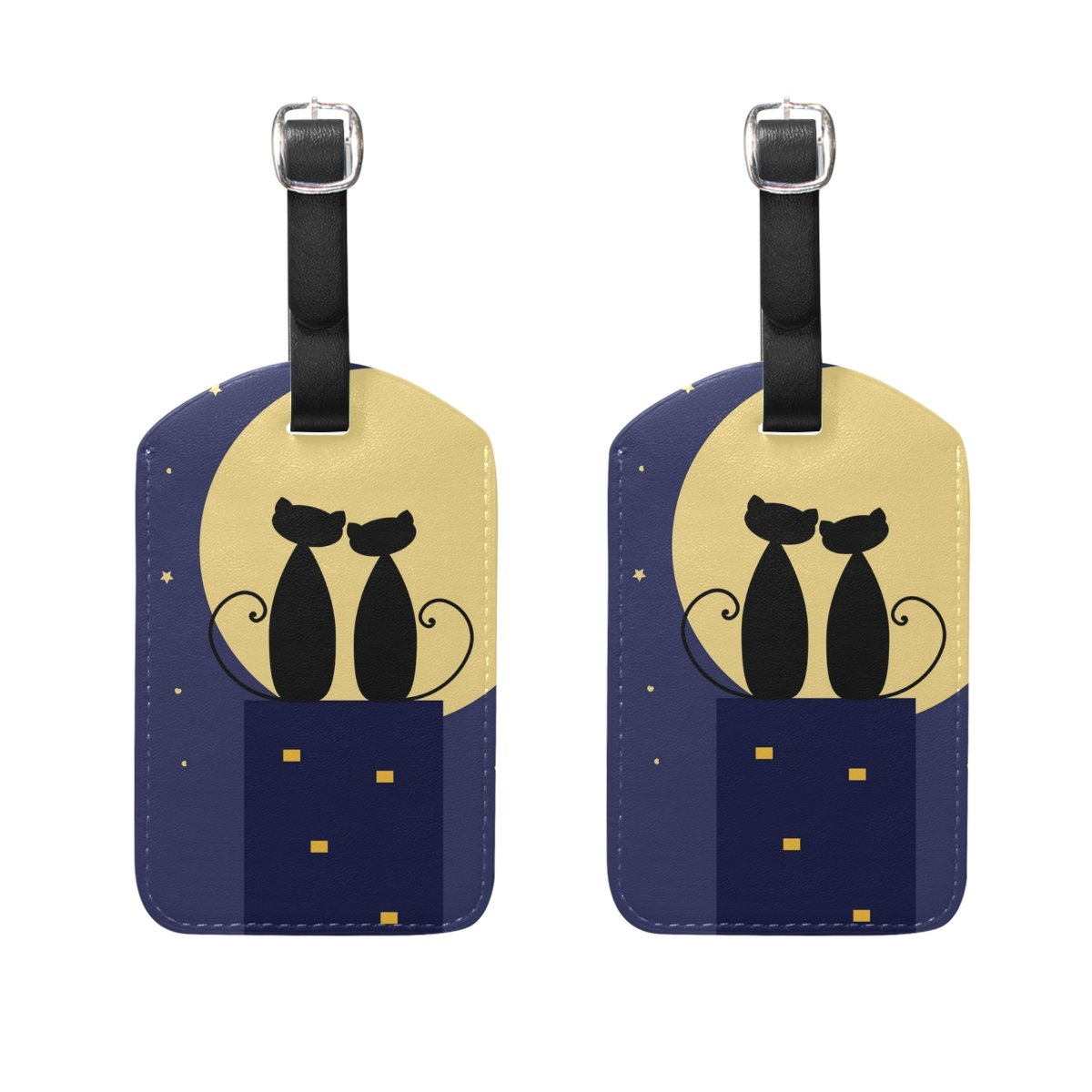 LORVIES Night Love Cats Luggage Tags Travel Labels Tag Name Card Holder for Baggage Suitcase Bag Backpacks, 2 PCS