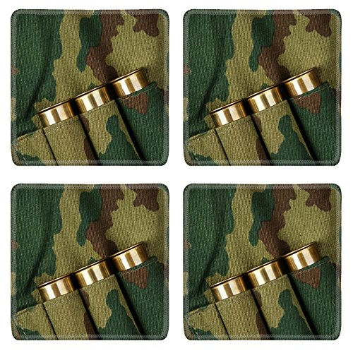 Liili natural rubber Square Coasters IMAGE ID: 15751488 Old hunting cartridges and bandoleer on camouflage background