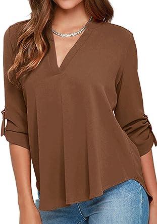YMING - Camisa para mujer, estilo casual, de muselina de seda ...