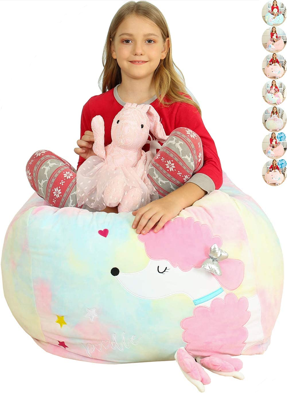 """Anzitinlan Kids Bean Bag Chair Girls, Stuffed Animal Storage for Kids Room, Kids Chairs, Baby Fleece Fabric Super Soft, Cover Only, 22""""x24"""" Extra Large Colorful Poodle"""