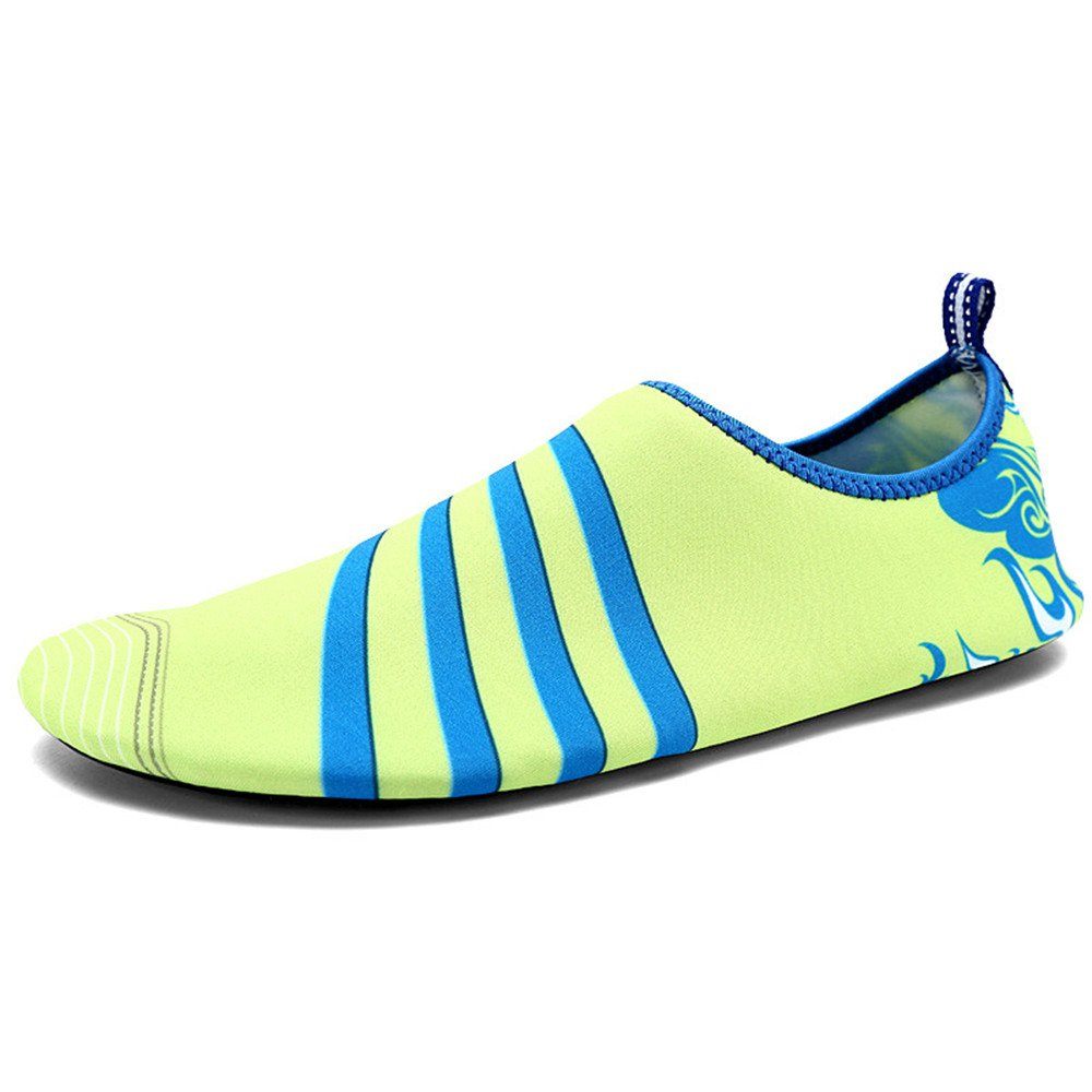 Humasol Men Women's Lightweight Quick-Dry Aqua Shoes Multifunctional Water Socks for Swim Beach Pool B073WSZZ7M US Women:8.5-10/ Men:7-8.5 (EU 39-40)|Stripe-Fluorescence green