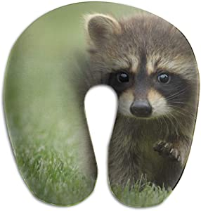 HijingTT Cute Raccoons On Grass U Shaped Neck Pillow Comfortable Soft Microfiber Neck-Supportive Travel Pillow for Home, Neck Pain
