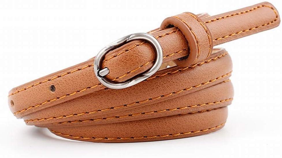 Xasclnis Cinturones de Vestir Finos de Cuero de Mujer para Jeans con Hebilla metálica (Color : Brown)