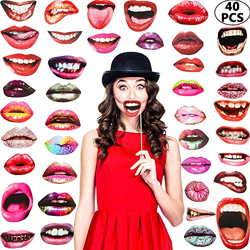 Funny Halloween Photos (Party Photo Booth Props, Funny Mouth Lips Photo Booth Prop, Funny Mouth DIY Set with Wood Stick Selfie Props Accessories for Birthday/Wedding/Graduation/Halloween Party (Mouth Lip, 40)