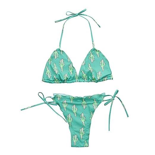 ec87e18ac8 Amazon.com: Fangdon Womens Cactus Print Bikini Set Two Piece ...
