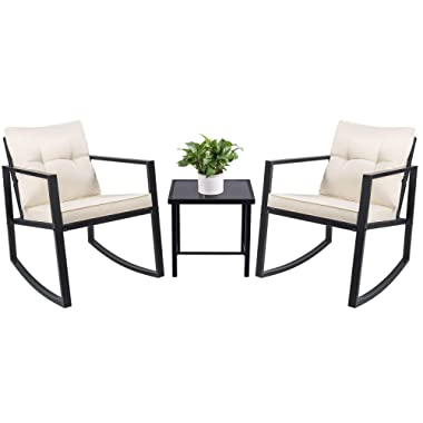 Devoko 3 Piece Rocking Bistro Set Wicker Patio Outdoor Furniture Porch Chairs Conversation Sets with Glass Coffee Table (Black)