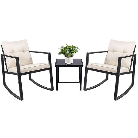Amazon.com: Devoko Juego de 3 piezas de sillas de mimbre ...