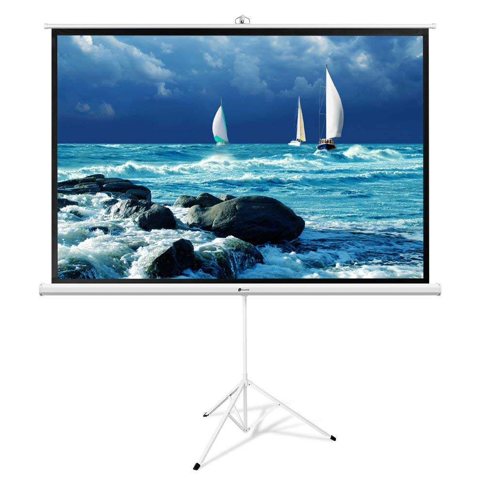 Projector Screen with Stand, Houzetek 100 Inch 16:9 HD Projector Screen Tripod Adjustable Foldable for Indoor Outdoor Home Theater Office (Easy to Clean, 1.1 Gain, 170 Degree Viewing Angle)
