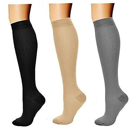 3 Par Medias de Compresión Calcetines de Compresión para Hombres y Mujeres Varices Running Recuperación Muscular