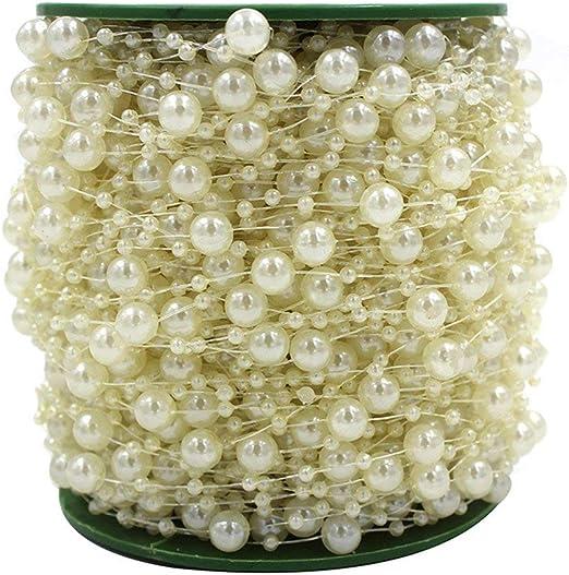 10m//Roll Perlenkette Perlenband Perlenschnur 8mm Girlande Hochzeit Feiern Deko