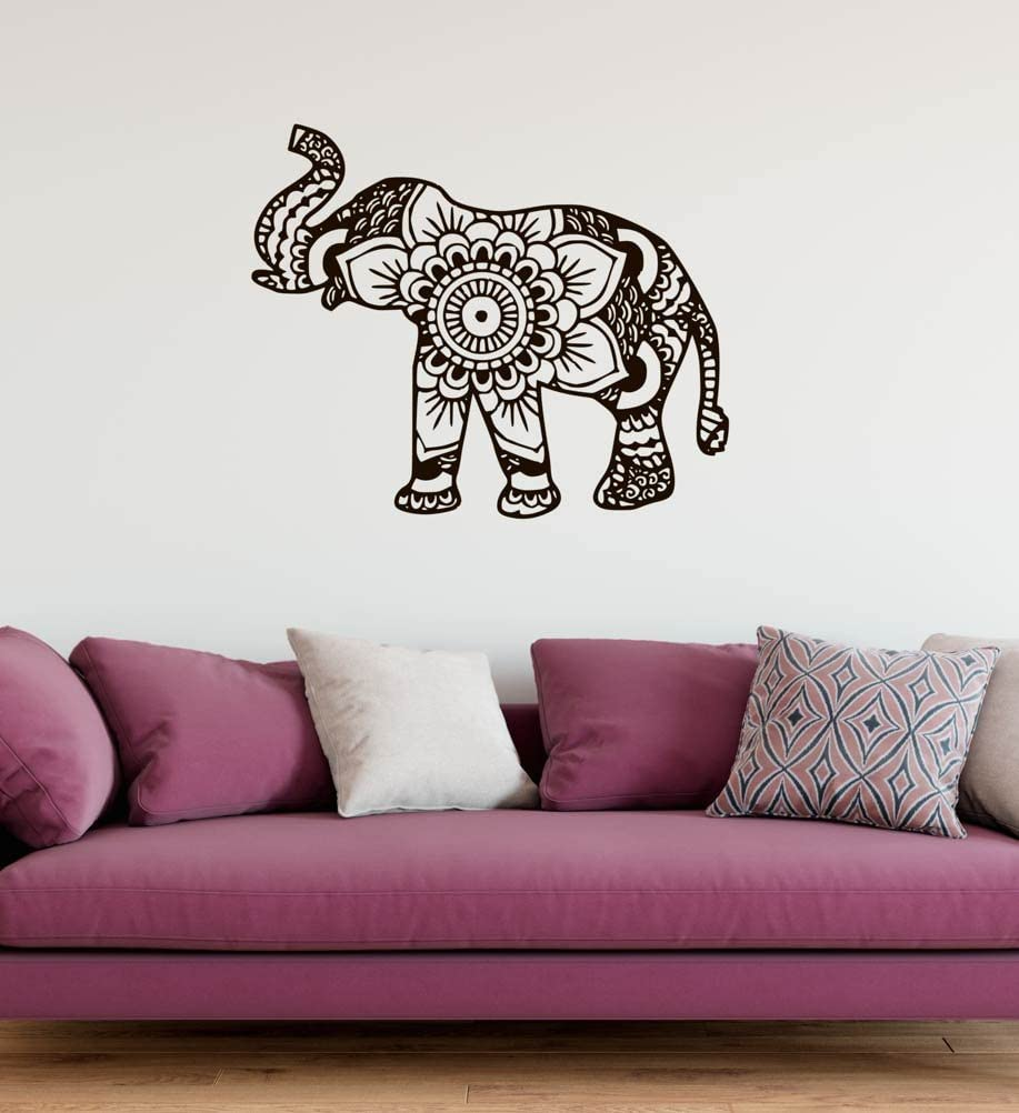 "Elephant Mandala Henna Style Wall Decal Vinyl Home Decoration - 20"" Wide x 17"" high"