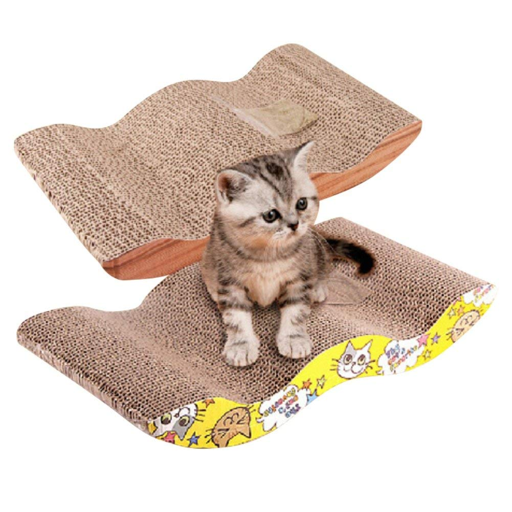The Wave Curved Catnip Cat Scratcher Cat Scratch Board Incline Scratcher Kitty Toy
