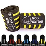 "Wrist Wraps by WOD Nation - Wrist Support Straps (12"", 18"" or 24"") - Fits Both Men & Women - Strength Training, Weightlifting, & Powerlifting - Lift Heavier Weight (18 Inch - Black/Yellow)"