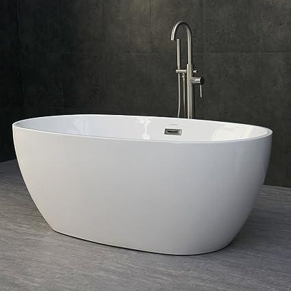 Woodbridge 59 Acrylic Freestanding Bathtub Contemporary Soaking Tub With Chrome Overflow And Drain B 0018 Bta1518 Oval