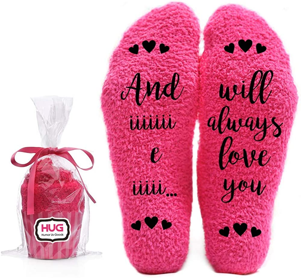 And I Will Always Love You Fuzzy Pink Socks - Novelty Cupcake Packaging for Her - Birthday Gifts for Women, Mom, Wife, Sister, Friend, Aunt or Grandma Christmas Stocking Stuffers - 1 Pair